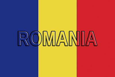 Romanian Icons Digital Art - Flag Of Romania With Text by Roy Pedersen