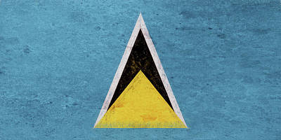 Flag Of Saint Lucia Grunge Art Print