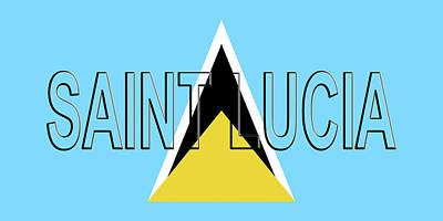 Flag Of Saint Lucia Word Art Print