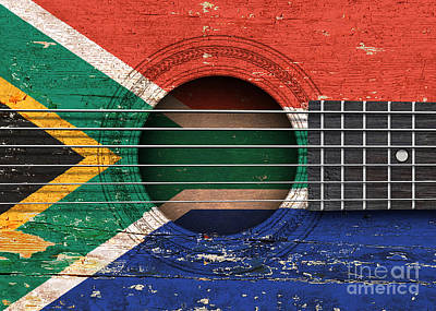 Flag Of South Africa On An Old Vintage Acoustic Guitar Art Print by Jeff Bartels