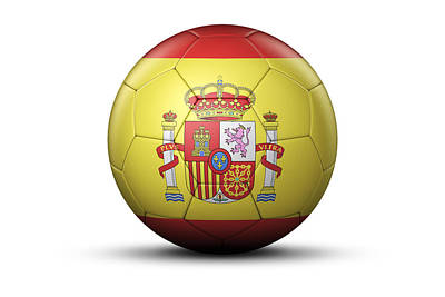Flag Of Spain On Soccer Ball Art Print