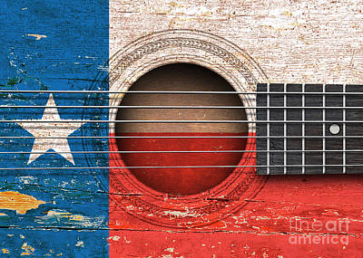 Flag Of Texas On An Old Vintage Acoustic Guitar Art Print