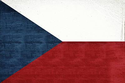 Flag Of The Czech Republic Grunge Art Print