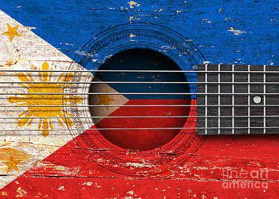 Six Flags Digital Art - Flag Of The Philippines On An Old Vintage Acoustic Guitar by Jeff Bartels