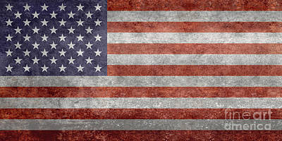 Flag Of The United States Of America  Vintage Retro Version Art Print by Bruce Stanfield