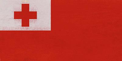 Tongan Digital Art - Flag Of Tonga Grunge by Roy Pedersen