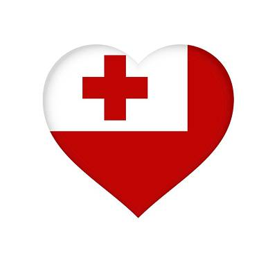 Tongan Photograph - Flag Of Tonga Heart  by Roy Pedersen