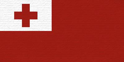 Tongan Digital Art - Flag Of Tonga Wall by Roy Pedersen