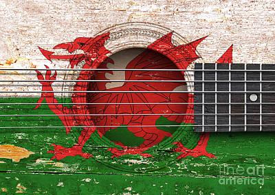 Wales Digital Art - Flag Of Wales On An Old Vintage Acoustic Guitar by Jeff Bartels