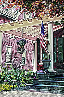 Photograph - Flag On Front Pillar by Sandy Moulder