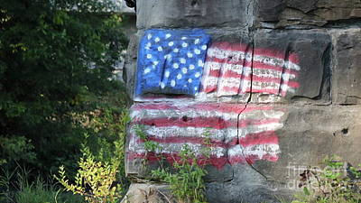Photograph - Flag On The Bricks by Erick Schmidt