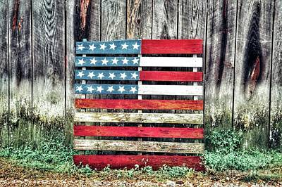 Wood Pallet Flag Photograph - Flag On Wood Pallet by John Myers