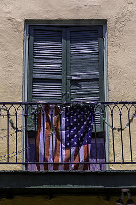Nola Photograph - Flag On Wrought Iron Rail by Garry Gay