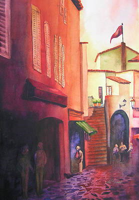 St.tropez Painting - Flag Over St. Tropez by Karen Stark