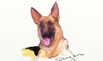 Watercolor Pet Portraits Digital Art - Flag by Susan Dangar