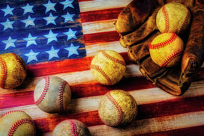 Photograph - Flag With Baseballs by Garry Gay