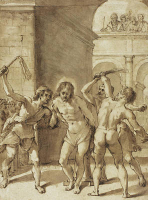 Suffering Drawing - Flagellation Of Christ by Guercino