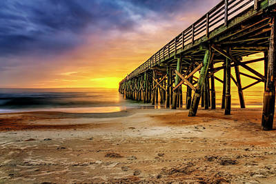 Flagler Beach Pier At Sunrise In Hdr Art Print