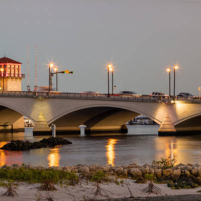 Photograph - Flagler Bridge In Lights Iv by Debra and Dave Vanderlaan