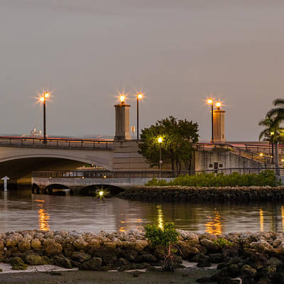 Photograph - Flagler Bridge In Lights V by Debra and Dave Vanderlaan