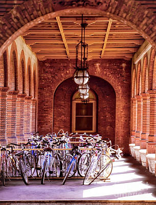 Photograph - Flagler College Bike Rack Hallway St Augustine Florida by Tom Jelen