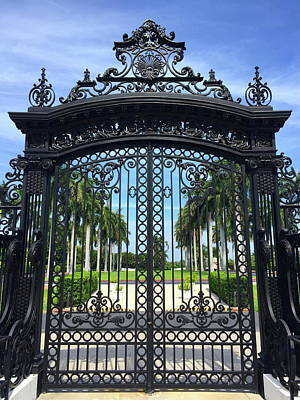 Photograph - Flagler Museum Gate by Denise Mazzocco