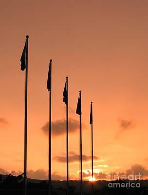 Flagpoles And Sunset Art Print by Yali Shi