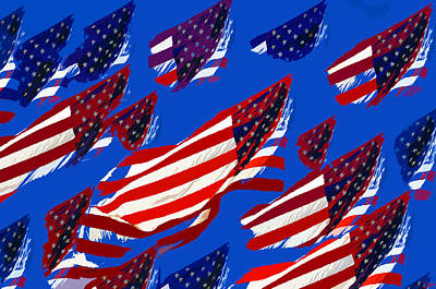 4th July Digital Art - Flags American by David Lee Thompson