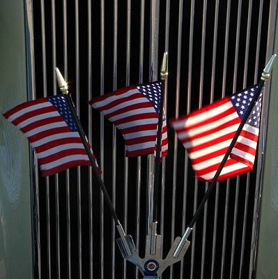 Photograph - Flags And Car Show by Bill Tomsa