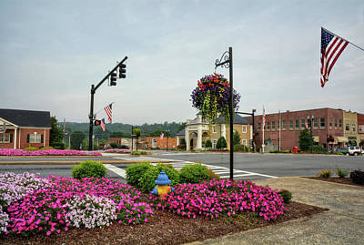 4th July Photograph - Flags And Flowers In Murphy North Carolina by Greg Mimbs