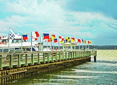 Digital Art - Flags At The Pier by Susan Leggett