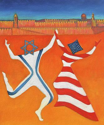 Flags Dancing With Israeli Man And American Woman       Art Print by Jane  Simonson