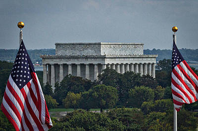 Photograph - Flags Frame The Lincoln Memorial by Stuart Litoff