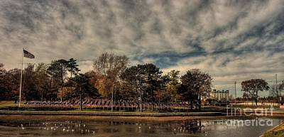 Flags In Deering Oaks Park Art Print by David Bishop