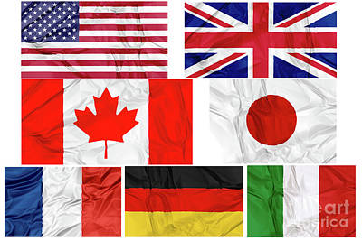 Photograph - Flags Of G7 Contries by Benny Marty