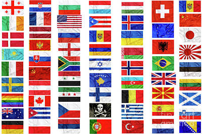 Photograph - Flags Of World Contries by Benny Marty