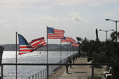 Photograph - Flags On The Inlet Boardwalk by Robert Banach