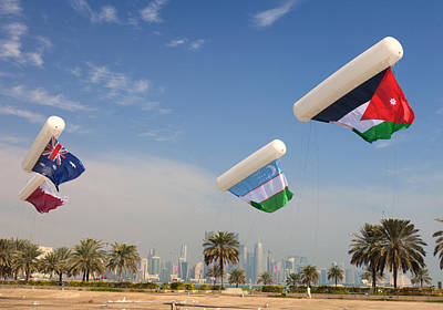 Flags Over Doha Art Print by Paul Cowan