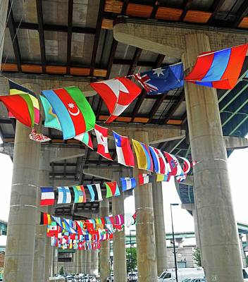 Photograph - Flags Under The Bridge 1 by Ron Kandt