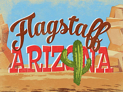 Flagstaff Wall Art - Digital Art - Flagstaff Arizona Vintage Travel Ad	 by Flo Karp