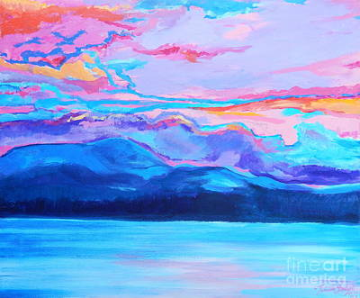 Painting - Flagstaff Lake Winter Sunset by Expressionistart studio Priscilla Batzell