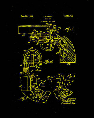 Mixed Media - Flair Gun Patent Drawing 1f by Brian Reaves