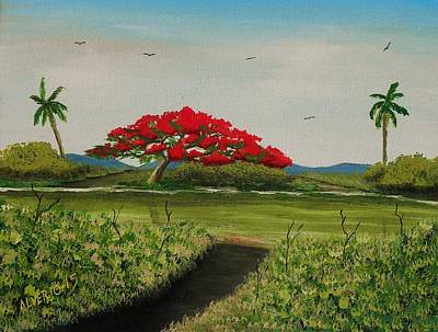 Flamboyan Tree Painting - Flamboyan A La Orilla Del Rio by Edwin Alverio