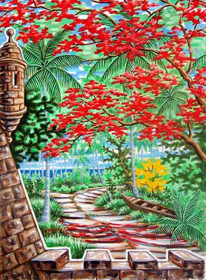 Flamboyan En El Morro Art Print