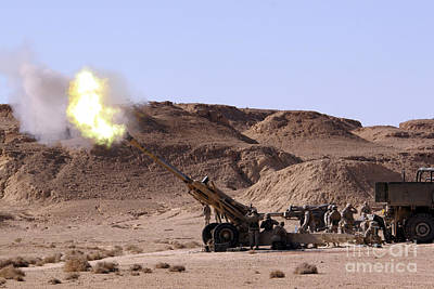 Flame And Smoke Emerge From The Muzzle Art Print by Stocktrek Images