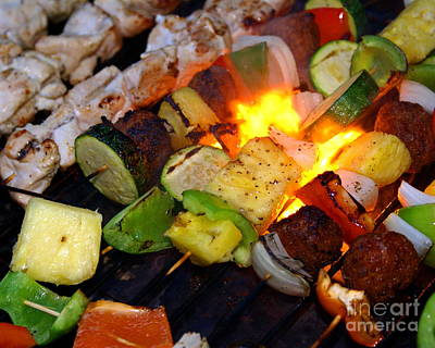 Photograph - Flame Grilled Shrimp And Veggies #2 by Ben Upham III