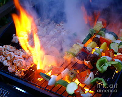Photograph - Flame Grilled Shrimp And Veggies by Ben Upham III