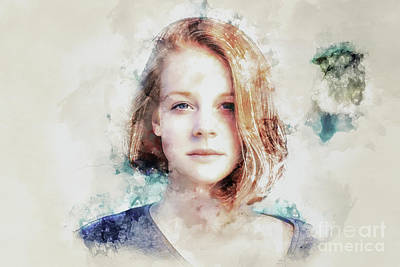 Digital Art - Flame Haired Girl Watercolour by Jack Torcello