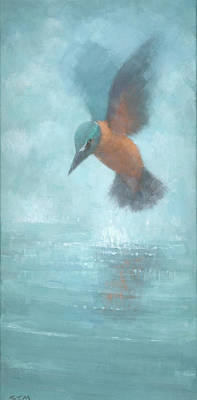 Kingfisher Painting - Flame In The Mist by Steve Mitchell