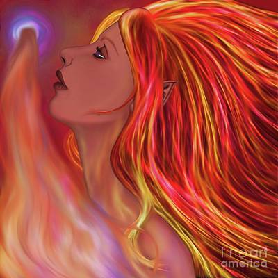 Digital Art - Flame Maiden by Alisha at AlishaDawnCreations